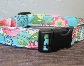 Vibrant Tropical Floral Dog Collar