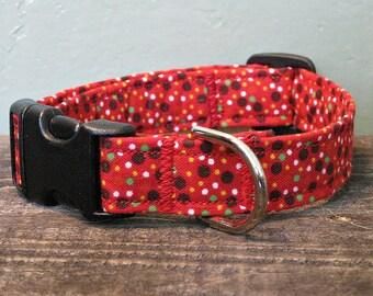 Red Confetti Modern Dog Collar