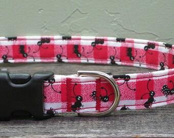 Picnic Ants Dog Collar - Custom Dog Collar - Colorful Dog Collar - Adjustable Dog Collar - Red Dog Collar - Boy Dog Collar - Girl Dog Collar