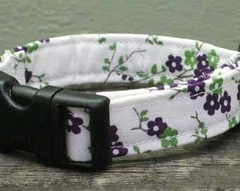Tiny Purple Blossoms Floral Dog Collar