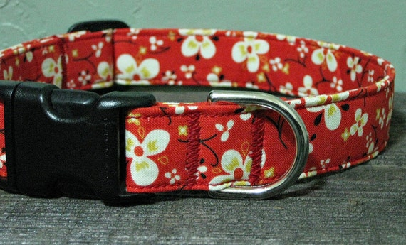 Tomato Blossom Floral Dog Collar - Adjustable Dog Collar - Custom Dog Collar - Bright Dog Collar - Red Dog Collar - Girl Dog Collar