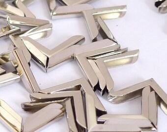 20 Silver Metal Book Corners - Bookbinding - Scrapbooking - Photo Corners - Diary - Journal