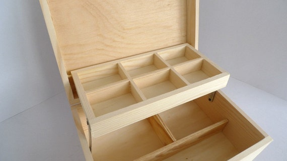 Unfinished Wooden Box with 9 compartments Jewelry Box