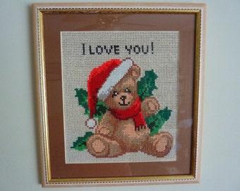 "Cross Stitch 'Christmas Teddy Bear', 11"" x 12"""