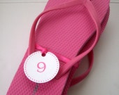 Flip Flop Size Tags with Ribbon - Pick Your Color/Colors - 25 Tags