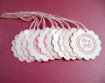 It's A Girl Favor Tags - Set of 20 - Other colors available