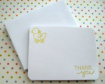 Baby Thank You Flat Notecards - Duck - Set of 12
