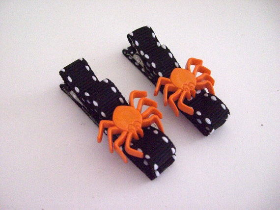 SALE - Halloween Clippies - Black with white stitch and Orange Spiders - Set of 2 - hair bow, barrette, alligator clip, clippies, clip