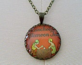 "Repurposed Vintage Advertising Art Pendant Necklace ""The Afternoon Tea"""