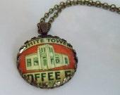 "Repurposed Vintage Advertising Art Pendant Necklace ""Tower Coffee"""