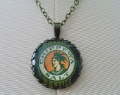 "Repurposed Vintage Advertising Art Pendant Necklace ""Chippewa Salt"""