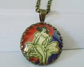 "Repurposed Vintage Advertising Art Pendant Necklace ""French Casino Girl"""