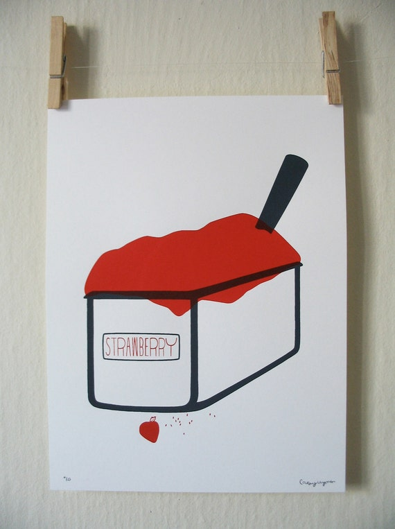 Strawberry Gelato - Silkscreen Print