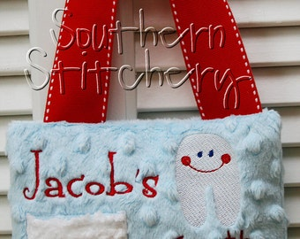 Tooth Fairy Pillow for Boys Personalized Minky Great Gift Easter Gift