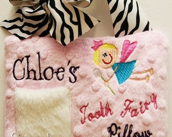 Tooth Fairy Pillow for Girls Minky Personalized Great Gift Girl Easter Gift