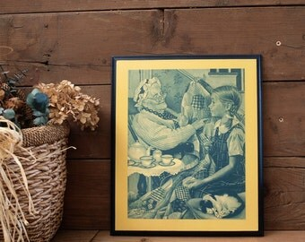 Wood Decoupage Traditional Wall Art Plaque Vintage Print Grandma and Quilt Scene