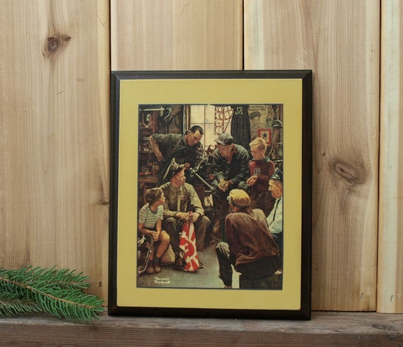 Wood Plaque Vintage Norman Rockwell Wall Art Decoupage Picture War Hero Print