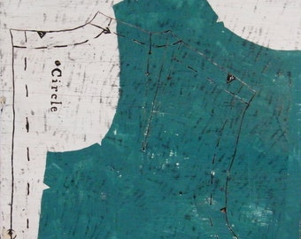 Turquoise Bodice, wall hung art,latex paint and encaustic on upcycled wood