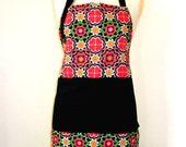 Full length apron - retro print with double pocket