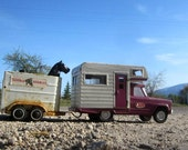 Purple Tonka Jeep Camper and Tonka Stables Horse Trailer With Black Horses
