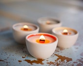 Mini candles for Mom. SPA (sweet birch, cedar, black pepper, orange). Pure soy votives, crackling wooden wick, modern reusable porcelain.