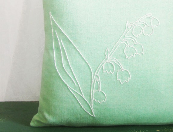 CIJ - Hand Embroidered Lily of the Valley 14 x 14 Pillow Cover