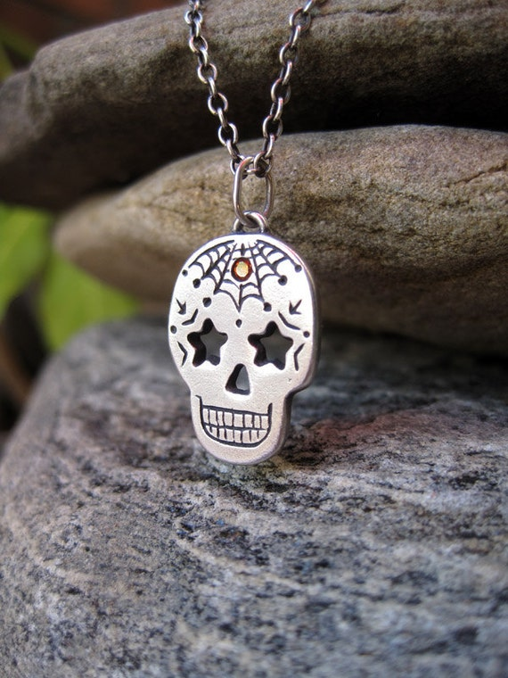 Dia de los Muertos Sugar Skull Silver Necklace, Web, Stars, and Orange Stone One of a Kind