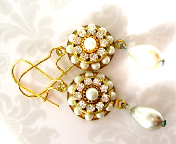 Bridal Bridesmaids pearl and crystal earrings - vintage pearl drop - pearl cluster- handmade wedding jewelry