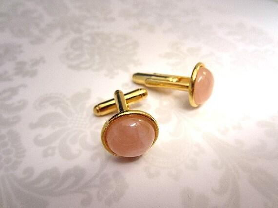 Cuff Links Rose Quartz in Gold Unisex Accessory