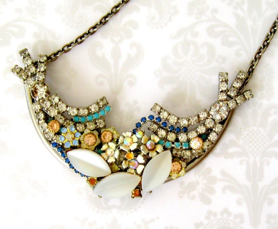 Floral vintage rhinestone necklace - vintage assemblage bib collar bridal necklace - GO ASK ALICE rhinestones and flowers.
