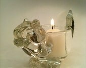 Vintage Crystal Squirrel Candle Holder.  Avon Collectible.