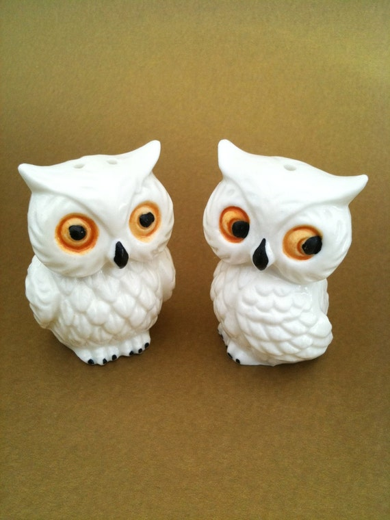 Reserved white porcelain owl salt and pepper shaker - Owl salt and pepper grinders ...