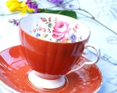 Beautiful Royal Grafton Tea Cup and Saucer, Terracotta/Rust Footed Floral, England