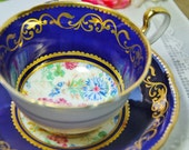 Reserved for Nan. Thank you for your understanding. Aynsley Tea Cup and Saucer, Cobalt Chintz Floral, England