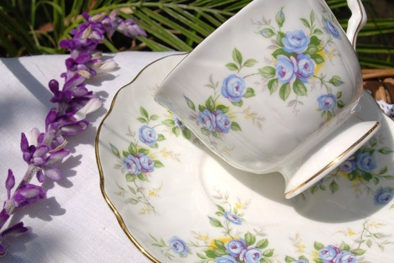 "Pretty AYNSLEY Tea Cup and Saucer, ""Marine Rose"" Blue Floral, England 2872"