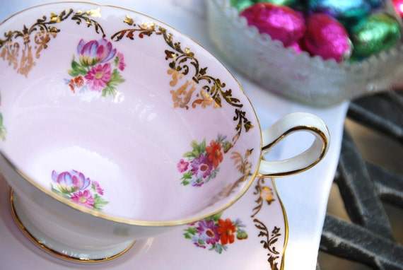 Gorgeous Westbrook Grand Tea Cup and Saucer, Pink, Floral, Gilt, England, Flawed