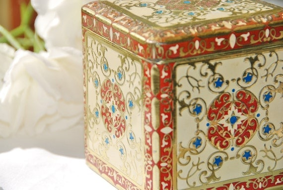 Vintage Tea Tin, Hinged lid, Decorative, Embossed, Gold/Red/Blue,  Made in Holland