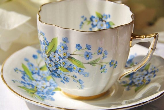 Vintage Royal Prince Tea Cup and Saucer, Blue, Scalloped, Floral, England