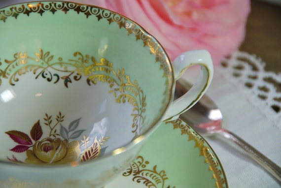 Reserved for Nan. Thank you for your understanding. Beautiful Royal Grafton Tea Cup and Saucer, Mint Green,Gilt Rose , England