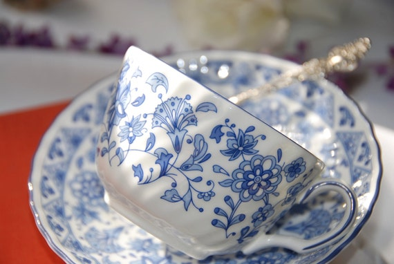 Minton Shalimar Tea Cup and Saucer, Blue and White, England,  c.1974