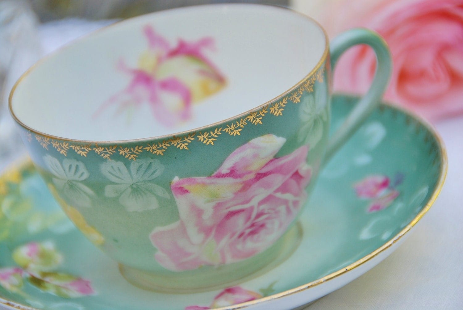 Antique Ct Carl Tielsch Tea Cup And Saucer Green Pink