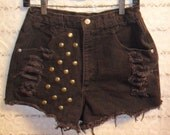 Vintage Roper  High Waisted  Brown denim shorts-- Studded -Waist 27  inch