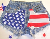 Levis Denim Shorts - Studded---American Flag Style Waist 27   inches
