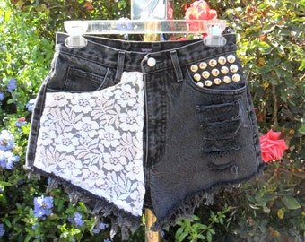 Vintage  Guess High Waisted Black Denim Shorts -  With Lace --Waist 26.5  inches------Ready To SHIP
