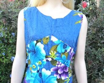 Vintage Penneys Hawaii  Floral Print  Summer Maxi Dress Sz Medium