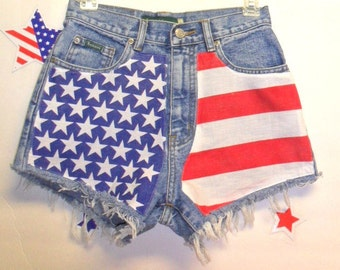 Vintage  High Waisted Denim Shorts - American Flag Style-- Waist 26   inches-----Ready to Ship