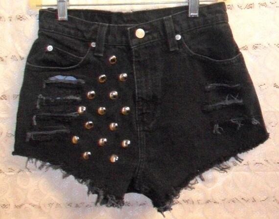 Vintage High Waisted   BLACK  Denim Shorts - Studded Waist 27 inches