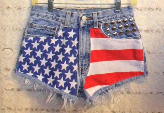 Vintage LEVIS Denim Shorts - Studded American Flag Style Waist 27 inches