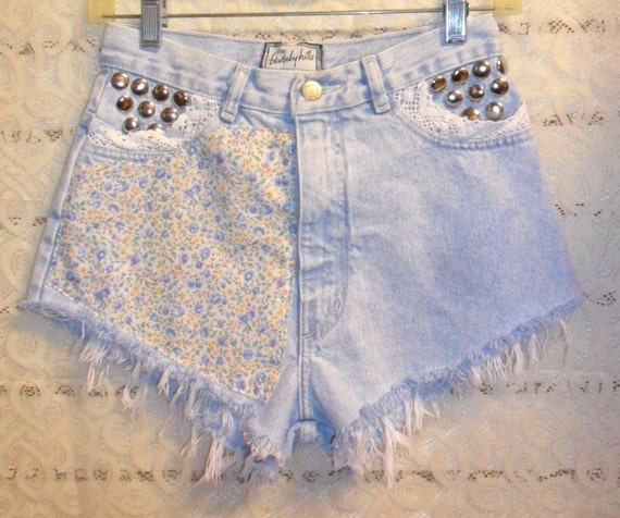 Vintage  High Waisted Denim Shorts -  Studded Daisey Dukes---Waist 26  inches