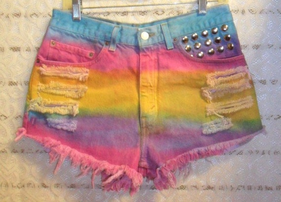 Vintage Levis  High Waisted Hand Dyed Denim Shorts - Studded--Waist 31   inches
